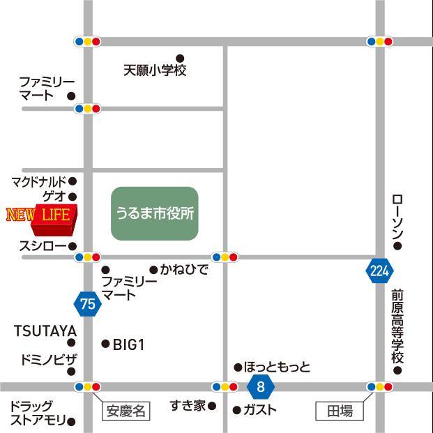 沖縄県うるま市みどり町6-1-20 1Fの地図