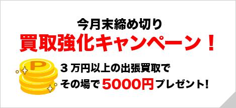 買取強化キャンペーン!3万円以上の出張買取で5000円+査定!
