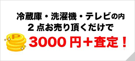 冷蔵庫・洗濯機・テレビの内2点お売り頂くだけで3000円+査定!